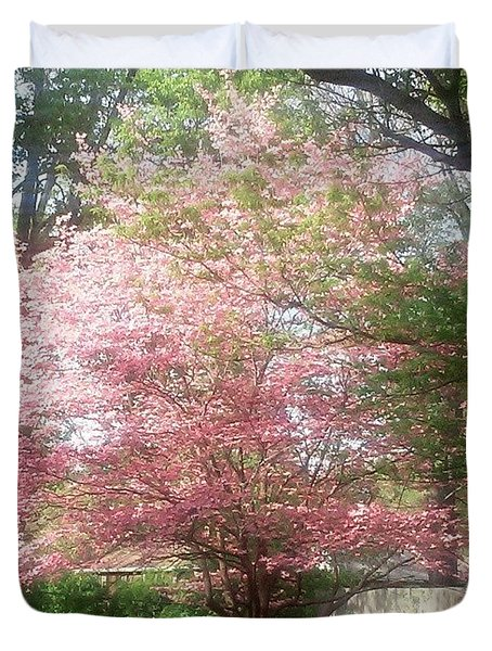 Pretty! ❤ #pink #tree #nature Duvet Cover