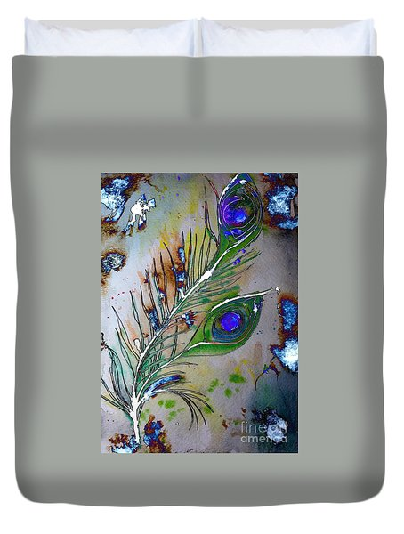 Duvet Cover featuring the painting Pretty As A Peacock by Denise Tomasura