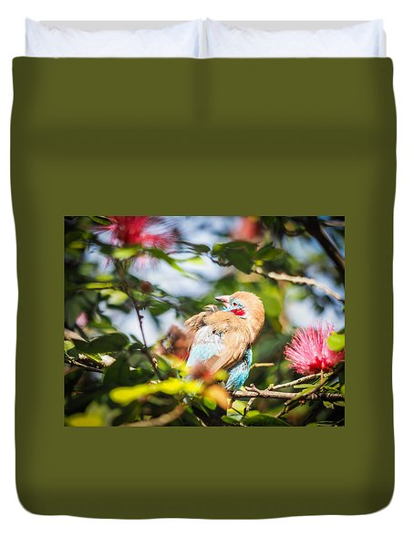 Red Cheeked Cordon Bleu Finch Duvet Cover