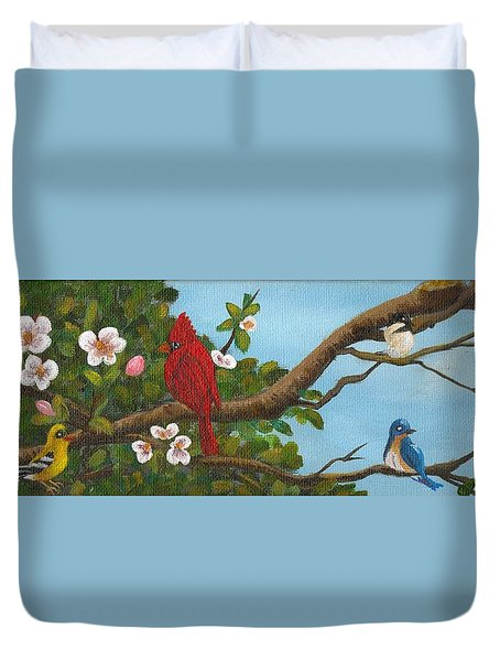 Pretty Birds Duvet Cover by Sheri Keith
