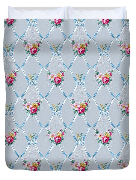 Duvet Cover featuring the digital art Pretty Blue Ribbons Rose Floral Vintage Wallpaper by Tracie Kaska