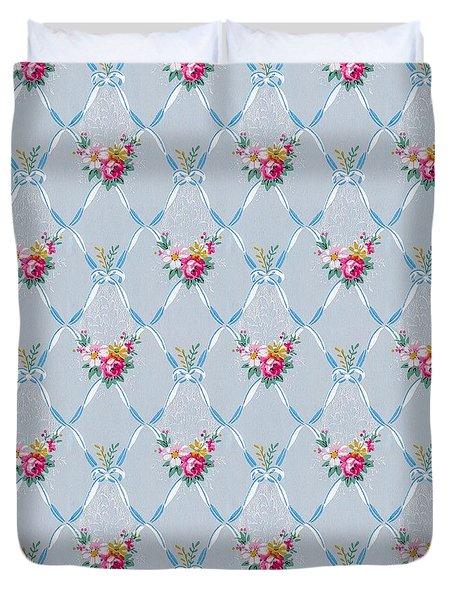 Pretty Blue Ribbons Rose Floral Vintage Wallpaper Duvet Cover
