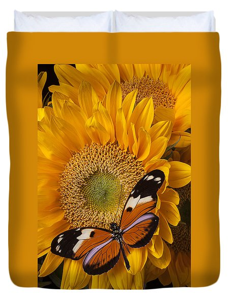 Pretty Butterfly On Sunflowers Duvet Cover by Garry Gay