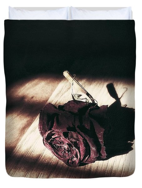 Pretty Dead Rose Resting In The Warm Sun Duvet Cover