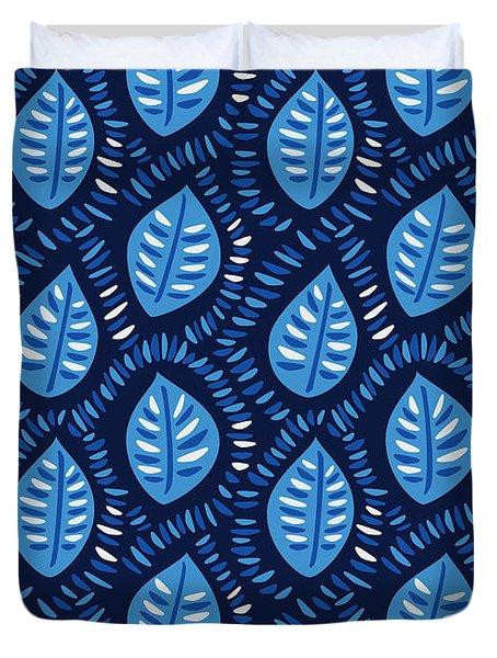 Pretty Decorative Blue Leaves Pattern Duvet Cover