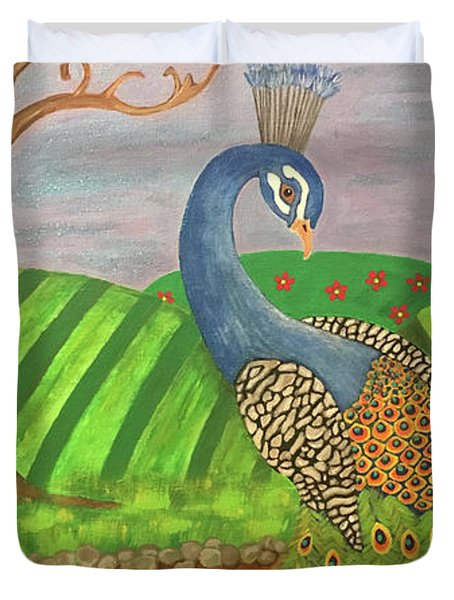 Pretty In Peacock Duvet Cover