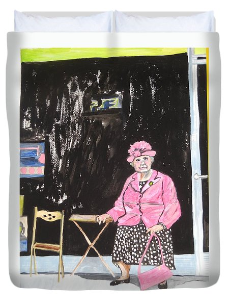Duvet Cover featuring the painting Pretty In Pink by Esther Newman-Cohen