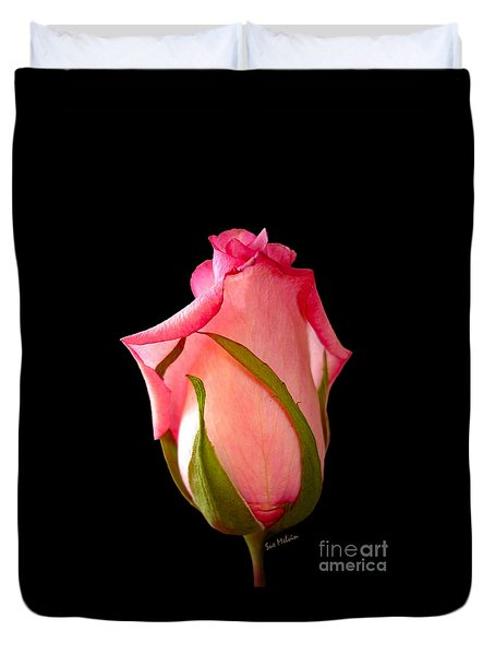Duvet Cover featuring the photograph Pretty In Pink Rosebud by Sue Melvin