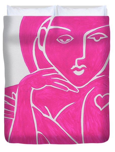 Pretty In Pink Tattoo Girl Poster Print  Duvet Cover