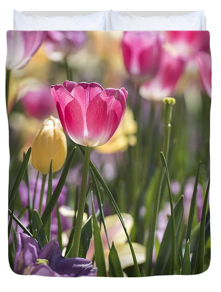 Pretty In Pink Tulips Duvet Cover