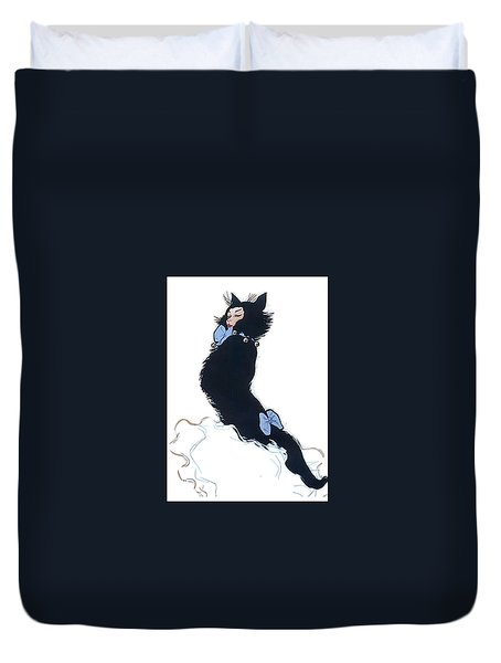 Duvet Cover featuring the digital art Pretty Kitty by ReInVintaged