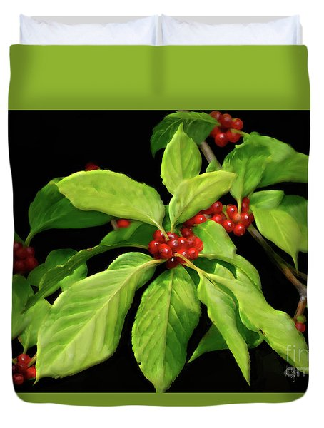 Duvet Cover featuring the photograph Pretty Little Red Berries by Lois Bryan
