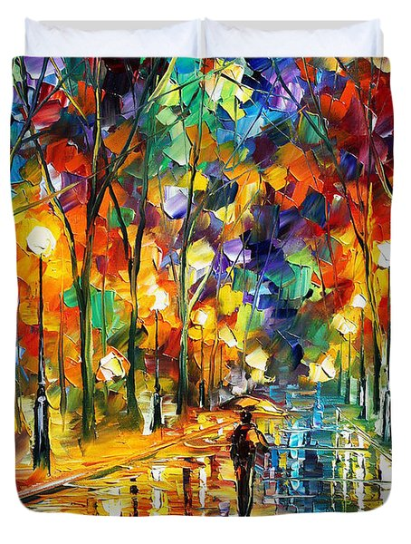 Pretty Night - Palette Knife Oil Painting On Canvas By Leonid Afremov Duvet Cover