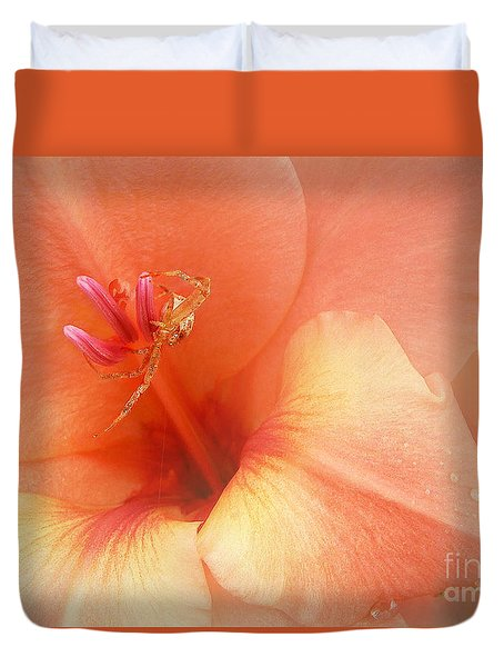 Duvet Cover featuring the photograph Pretty Orange Petals by Kathi Mirto