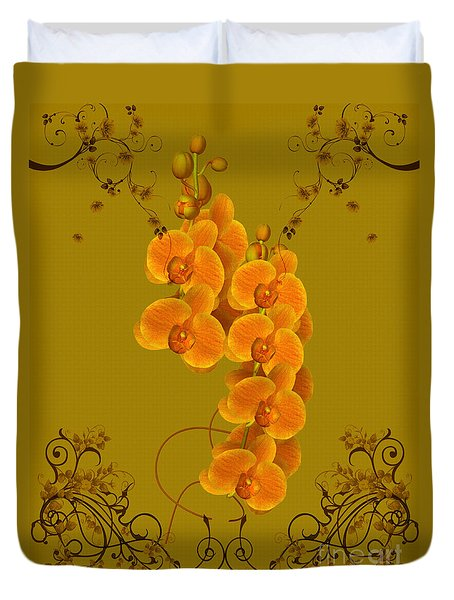 Pretty Orchids Duvet Cover by Smilin Eyes  Treasures