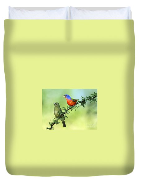 Pretty Painted Buntings Perched Duvet Cover