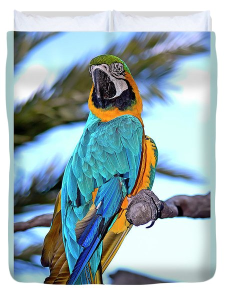 Duvet Cover featuring the photograph Pretty Parrot by Carolyn Marshall