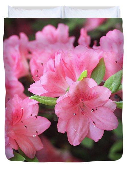 Pretty Pink Azalea Blossoms Duvet Cover