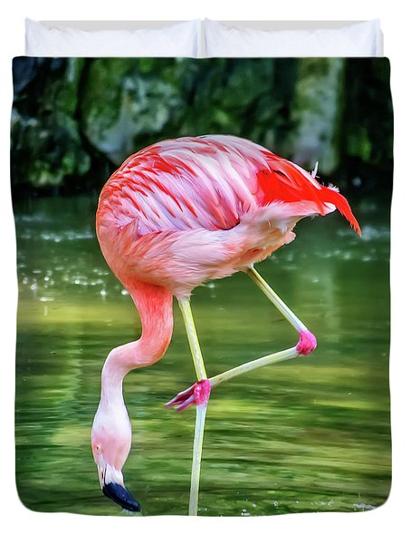 Pretty Pink Flamingo Duvet Cover