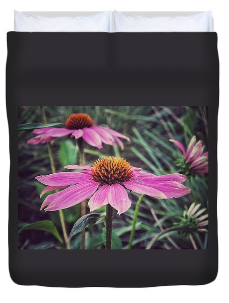 Duvet Cover featuring the photograph Pretty Pink Flower Parasol by Karen Stahlros