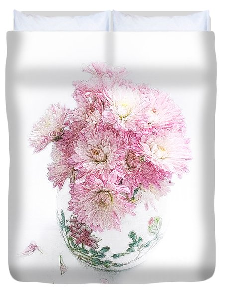 Pretty Pink Mums Still Life Duvet Cover by Louise Kumpf