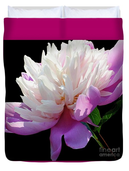 Pretty Pink Peony Flower Wall Art Duvet Cover