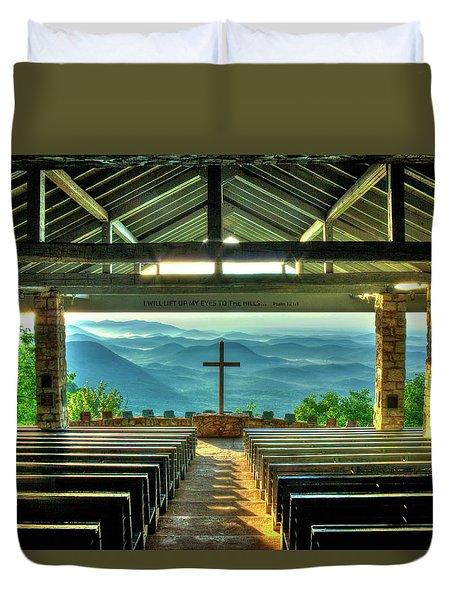 Pretty Place Chapel The Son Has Risen Blue Ridge Mountain Art Duvet Cover