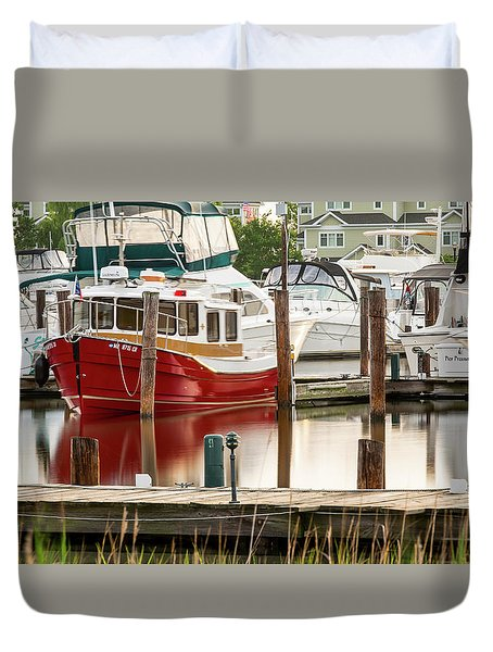 Pretty Red Boat Duvet Cover
