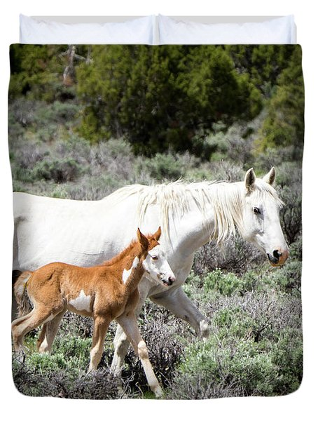 Duvet Cover featuring the photograph Pretty White Mustang Mare With Her New Foal - Sand  Wash Basin by Nadja Rider