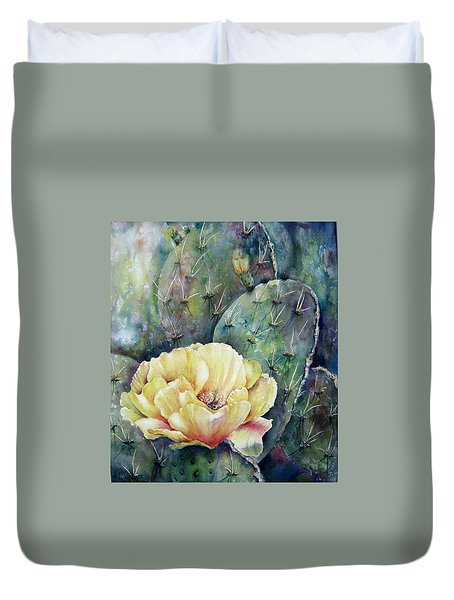 Prickly Blossom Duvet Cover by Mary McCullah