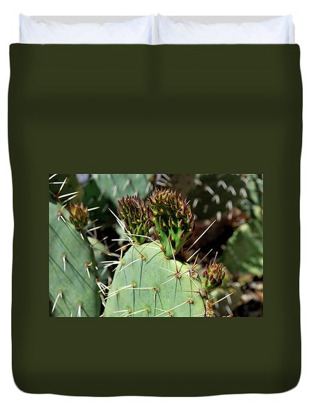 Prickly Pear Buds Duvet Cover