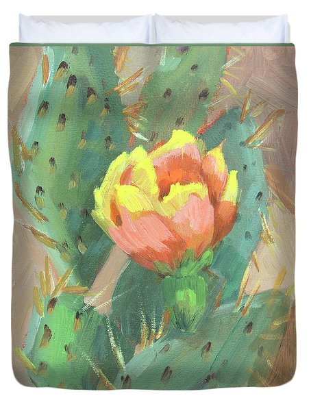 Duvet Cover featuring the painting Prickly Pear Cactus Bloom by Diane McClary