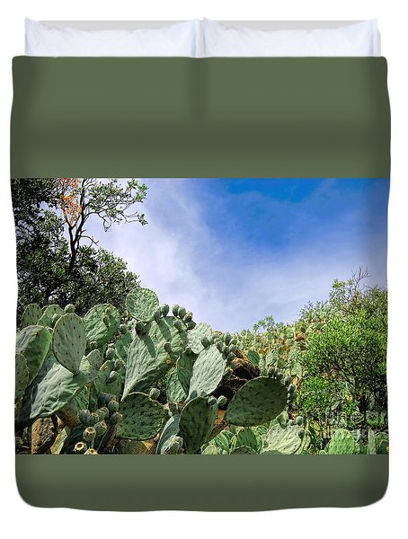 Duvet Cover featuring the photograph Prickly Pear Hillside by Gina Savage