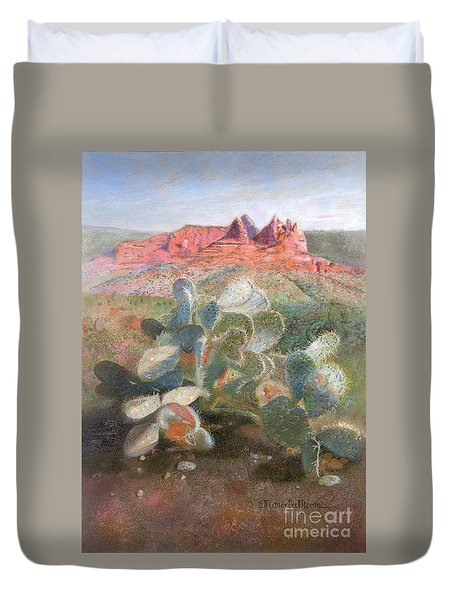 Duvet Cover featuring the painting Prickly Pear In Sedona, Arizona by Nancy Lee Moran