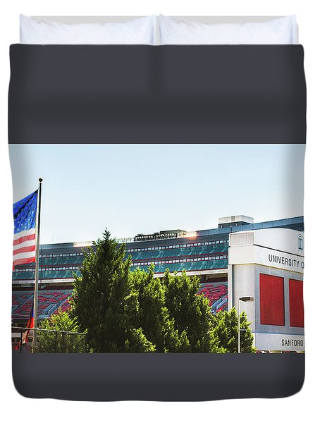 Duvet Cover featuring the photograph Pride Of Athens by Parker Cunningham