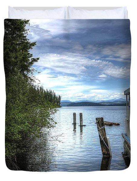 Priest Lake Houseboat 7001 Duvet Cover