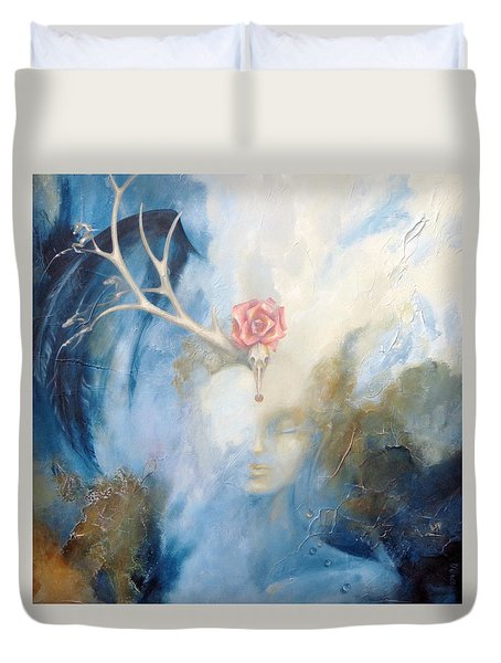 Duvet Cover featuring the painting Priestess by Dina Dargo