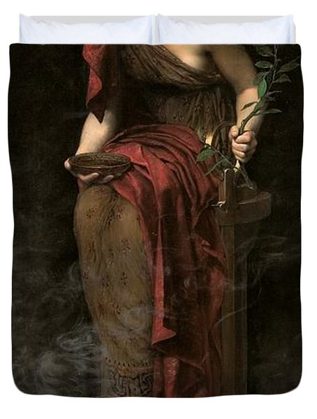 Priestess Of Delphi Duvet Cover by John Collier