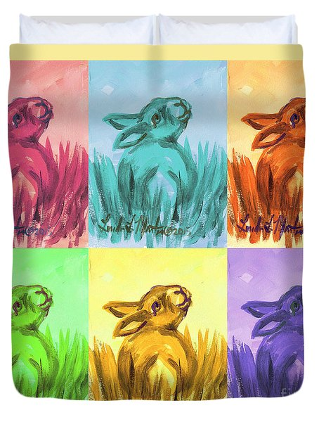 Primary Bunnies Duvet Cover