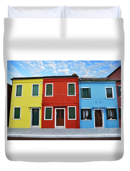 Primary Colors Too Burano Italy Duvet Cover