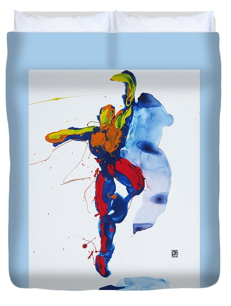 Duvet Cover featuring the painting Primary Vertical Jump Shadow by Shungaboy X