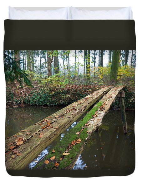 Duvet Cover featuring the photograph Primitive Bridge by Hans Engbers