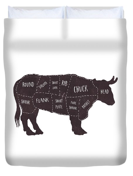 Primitive Butcher Shop Beef Cuts Chart T-shirt Duvet Cover