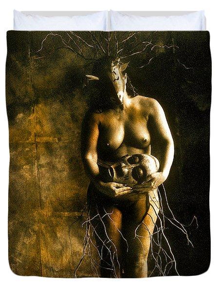 Primitive Woman Holding Mask Duvet Cover