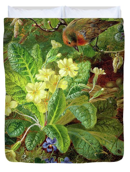 Primrose And Robin Duvet Cover by William John Wainwright