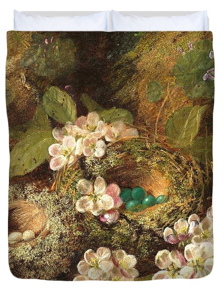 Primroses And Bird's Nests On A Mossy Bank Duvet Cover by Oliver Clare