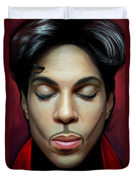 Duvet Cover featuring the painting Prince Artwork 2 by Sheraz A