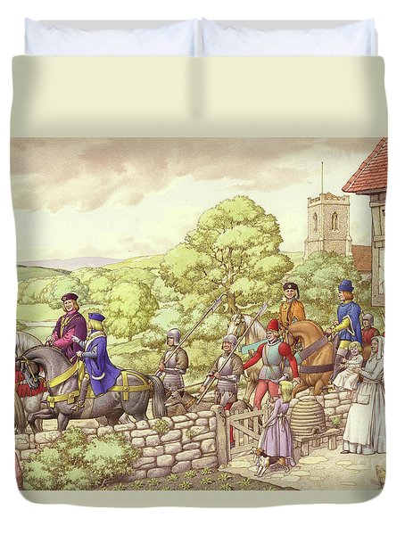 Prince Edward Riding From Ludlow To London Duvet Cover by Pat Nicolle