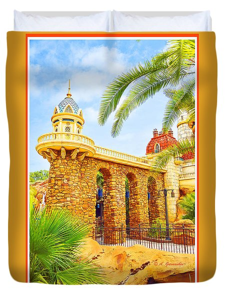 Duvet Cover featuring the digital art Prince Eric's Castle Walt Disney World by A Gurmankin