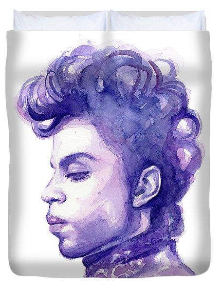 Prince Musician Watercolor Portrait Duvet Cover